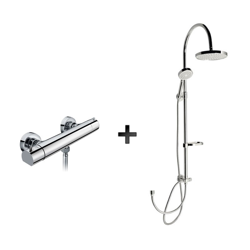 Dušas komplekts, ūdens maizītājs ar termostatu un dušu
