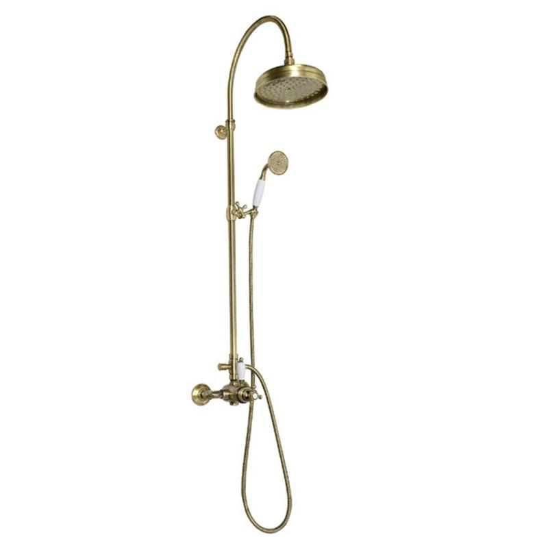 retro dušas sistēma ar termostatu, bronzas krāsā