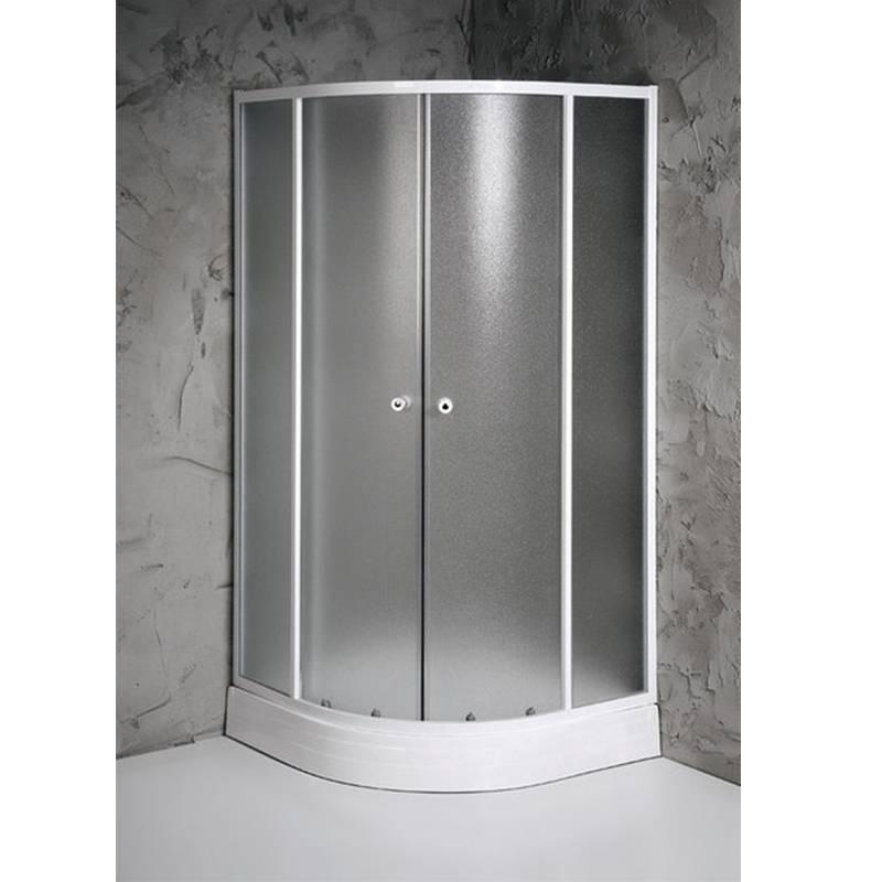 Pusapaļa dušas kabīne ar matētiem stikliem