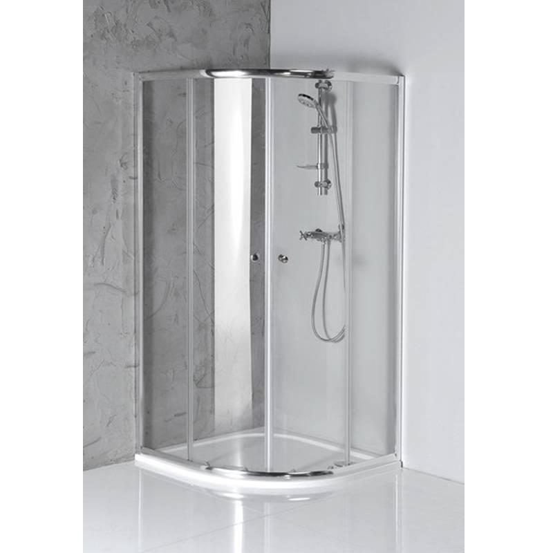 Pusapaļa dušaskabīne ar caurspīdīgiem stikliem