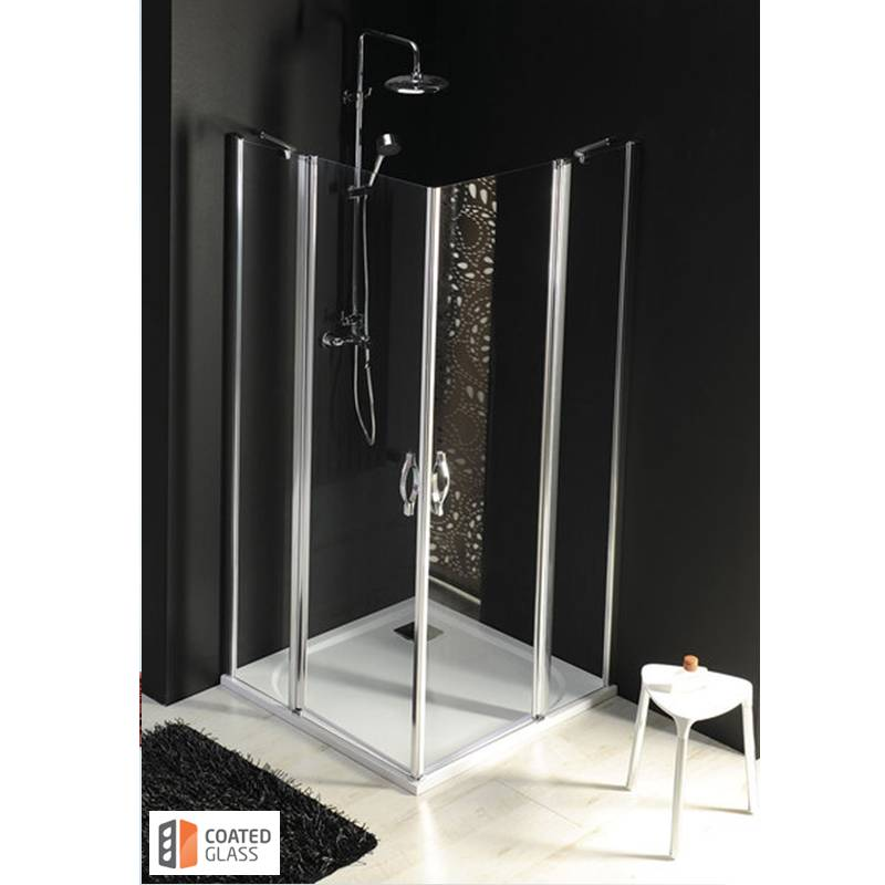 Kvadratveida dušas kabīne ar caurspīdīgiem stikliem