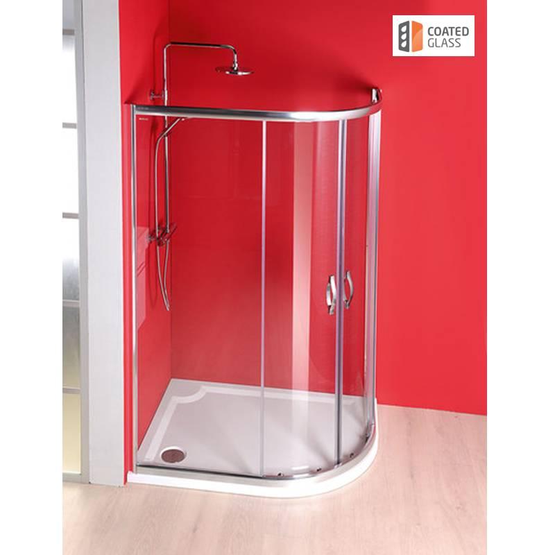 Pusapaļa dušas kabīne ar caurspīdīgiem stikliem