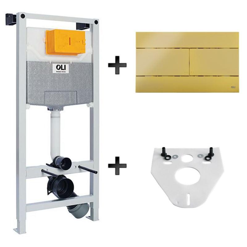 Iebūvējamais wc rāmis ar zelta pogu