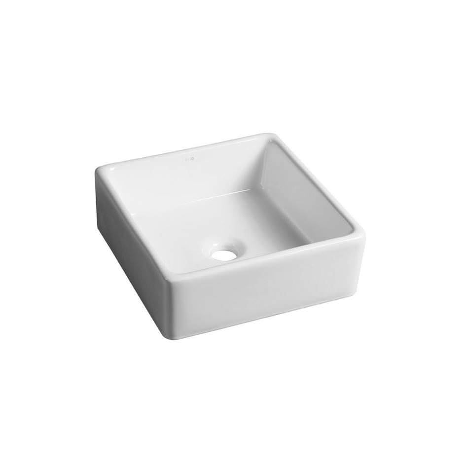Kvadrāta keramikas izlietne vannas istabai, balta