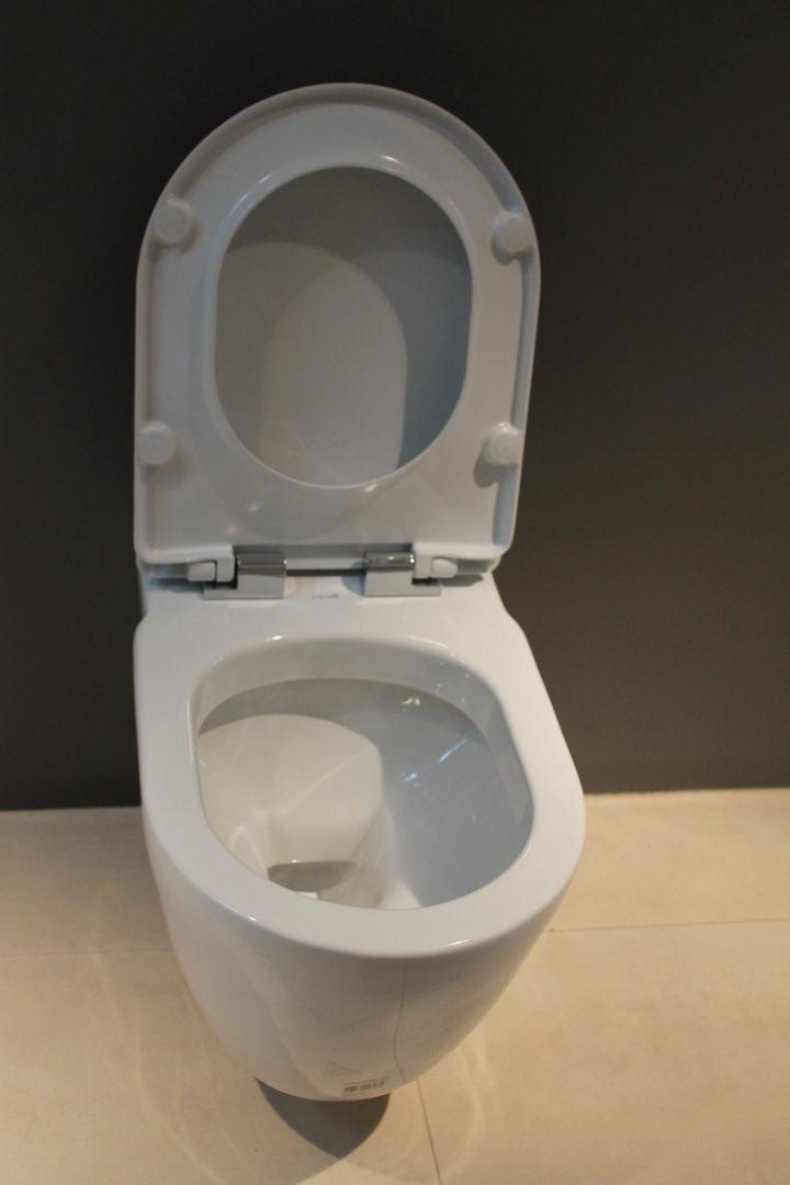 Piekarams tualetes pods ar paceltu vāku