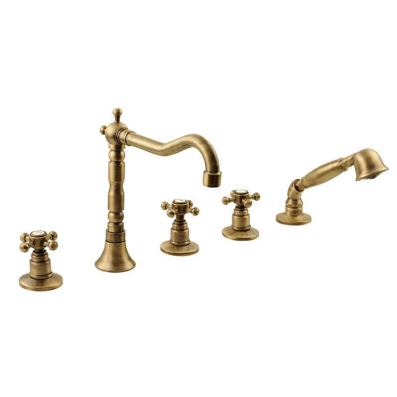 Vannas ūdens maisītājs ar rokas dušu, bronzas krāsā. Итальянский смеситель ванны в ретро стиль с ручным душем.