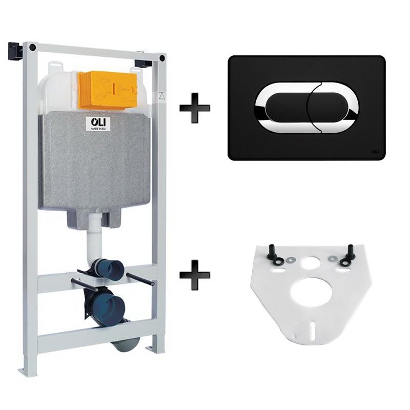 Melna klasiska stila pneimatiskā WC sistēmas poga ar iebūvējamo sistēmu
